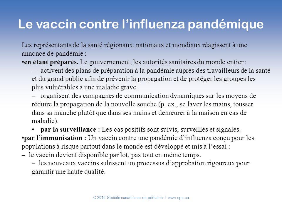 © 2010 Société canadienne de pédiatrie I www.cps.ca Les représentants de la santé régionaux, nationaux et mondiaux réagissent à une annonce de pandémi