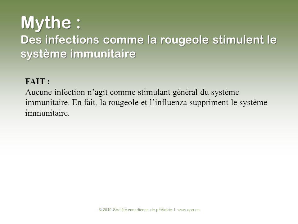 FAIT : Aucune infection nagit comme stimulant général du système immunitaire. En fait, la rougeole et linfluenza suppriment le système immunitaire. ©
