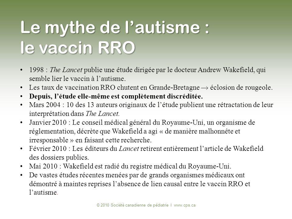 1998 : The Lancet publie une étude dirigée par le docteur Andrew Wakefield, qui semble lier le vaccin à lautisme. Les taux de vaccination RRO chutent