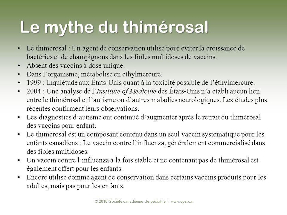 Le thimérosal : Un agent de conservation utilisé pour éviter la croissance de bactéries et de champignons dans les fioles multidoses de vaccins. Absen