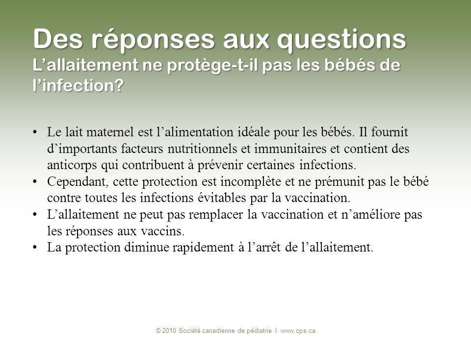Des réponses aux questions Lallaitement ne protège-t-il pas les bébés de linfection? © 2010 Société canadienne de pédiatrie I www.cps.ca Le lait mater