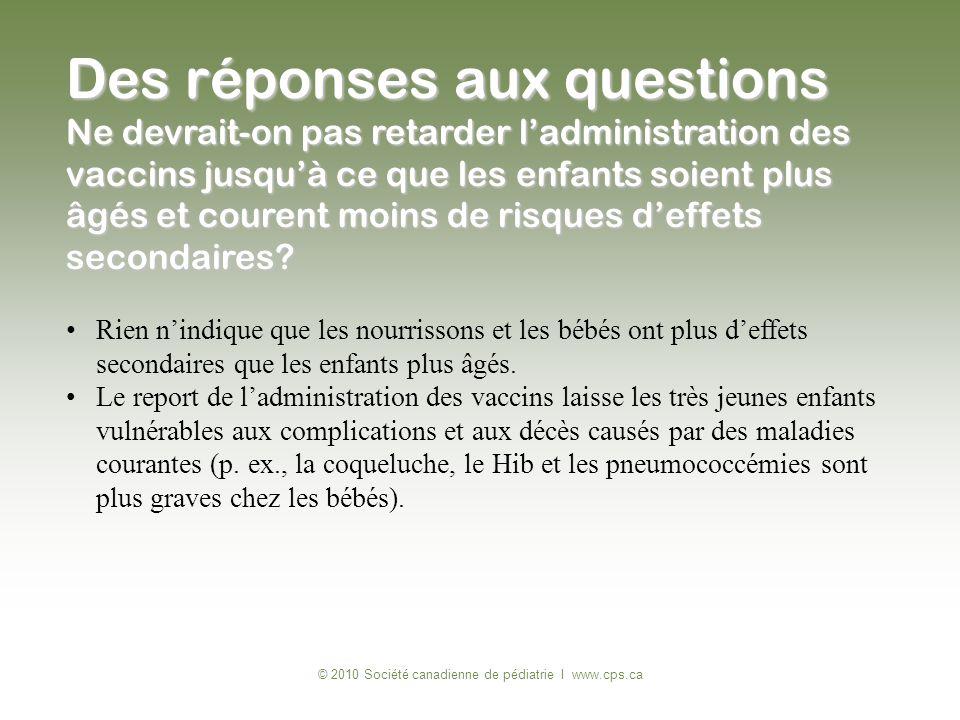 © 2010 Société canadienne de pédiatrie I www.cps.ca Rien nindique que les nourrissons et les bébés ont plus deffets secondaires que les enfants plus â