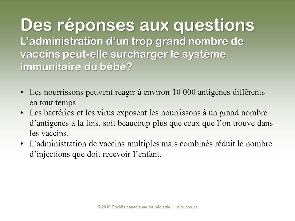 © 2010 Société canadienne de pédiatrie I www.cps.ca Les nourrissons peuvent réagir à environ 10 000 antigènes différents en tout temps. Les bactéries