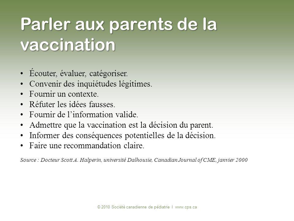 Parler aux parents de la vaccination © 2010 Société canadienne de pédiatrie I www.cps.ca Écouter, évaluer, catégoriser. Convenir des inquiétudes légit