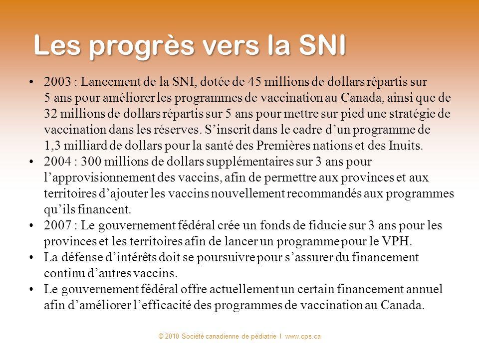 2003 : Lancement de la SNI, dotée de 45 millions de dollars répartis sur 5 ans pour améliorer les programmes de vaccination au Canada, ainsi que de 32