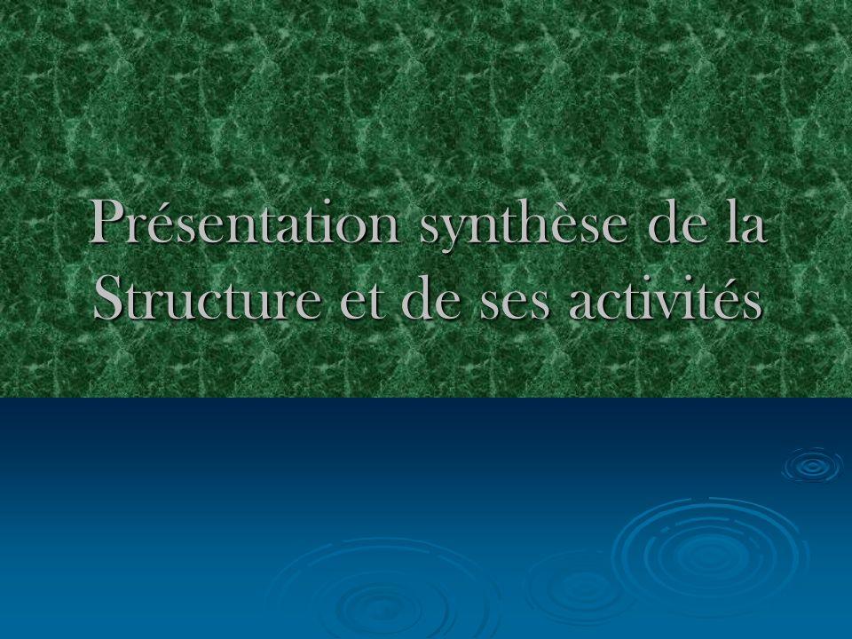 Présentation synthèse de la Structure et de ses activités