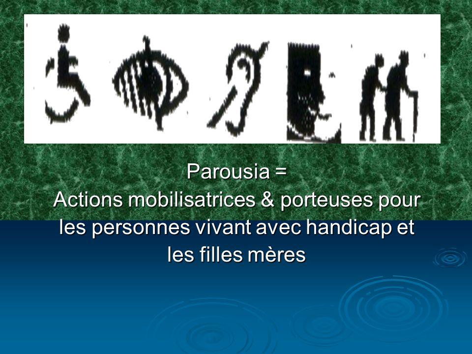 PAROUSIA/ONGD est créée le 30 octobre1995 à lissue de la journée de réflexion sur « la pleine participation et légalisation des chances de personnes avec handicap, organisée par trois jeunes intellectuels de Kinshasa/Kimbanseke: LUSAMBILA Martin, MAZUMBU Richard et BUNKEMBO Nacky Son siège social est sur lAv.