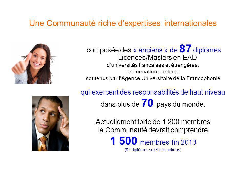 Une Communauté riche dexpertises internationales composée des « anciens » de 87 diplômes Licences/Masters en EAD duniversités françaises et étrangères, en formation continue soutenus par lAgence Universitaire de la Francophonie qui exercent des responsabilités de haut niveau dans plus de 70 pays du monde.