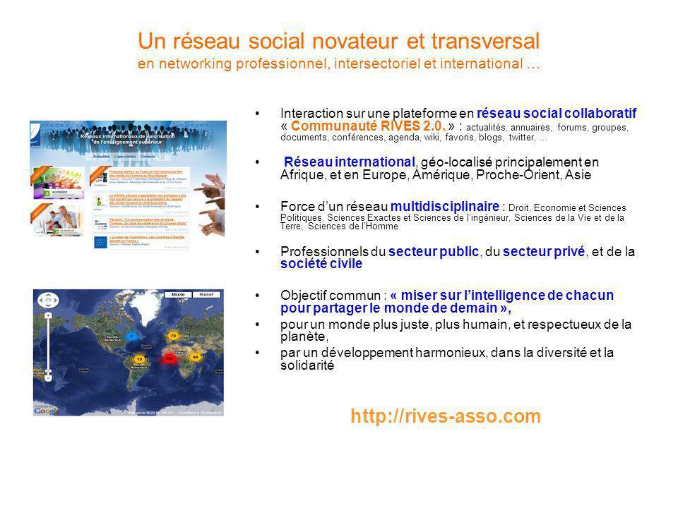 Un réseau social novateur et transversal en networking professionnel, intersectoriel et international … Interaction sur une plateforme en réseau social collaboratif « Communauté RIVES 2.0.