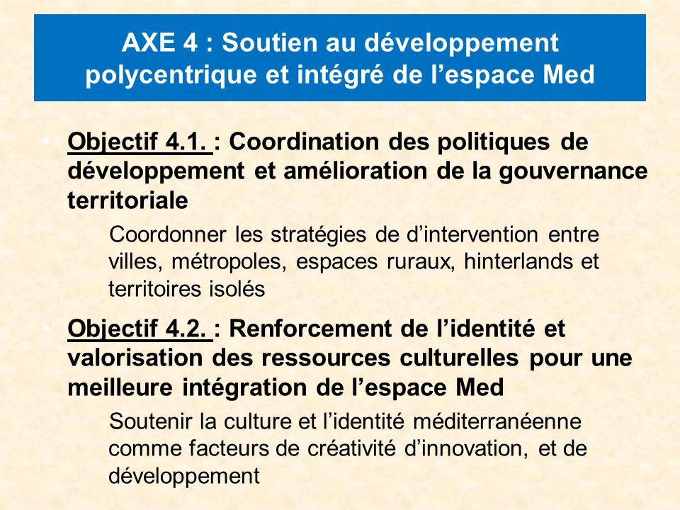 AXE 4 : Soutien au développement polycentrique et intégré de lespace Med Objectif 4.1.