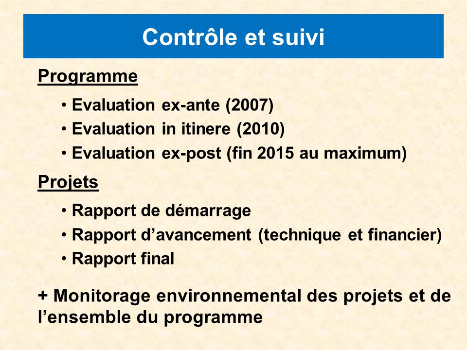 Contrôle et suivi Programme Evaluation ex-ante (2007) Evaluation in itinere (2010) Evaluation ex-post (fin 2015 au maximum) Projets Rapport de démarra