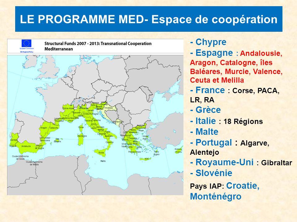 LE PROGRAMME MED- Espace de coopération - Chypre - Espagne : Andalousie, Aragon, Catalogne, îles Baléares, Murcie, Valence, Ceuta et Melilla - France : Corse, PACA, LR, RA - Grèce - Italie : 18 Régions - Malte - Portugal : Algarve, Alentejo - Royaume-Uni : Gibraltar - Slovénie Pays IAP: Croatie, Monténégro