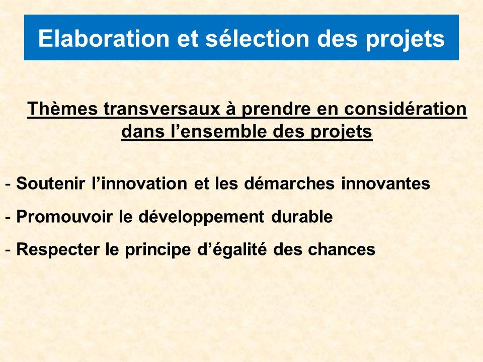 Elaboration et sélection des projets Thèmes transversaux à prendre en considération dans lensemble des projets - Soutenir linnovation et les démarches innovantes - Promouvoir le développement durable - Respecter le principe dégalité des chances
