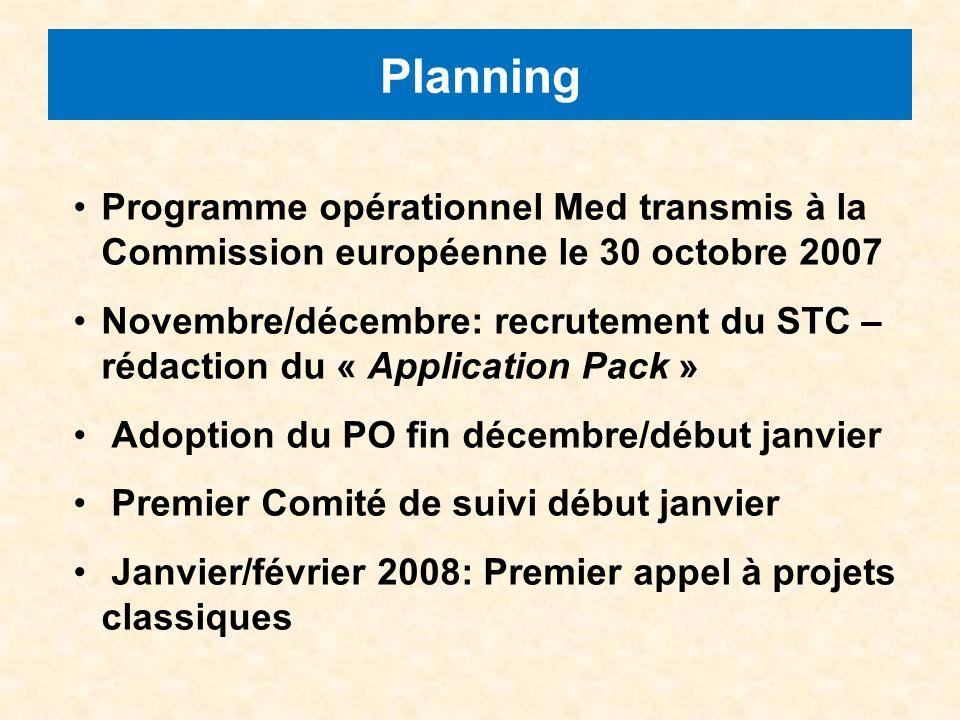 Planning Programme opérationnel Med transmis à la Commission européenne le 30 octobre 2007 Novembre/décembre: recrutement du STC – rédaction du « Application Pack » Adoption du PO fin décembre/début janvier Premier Comité de suivi début janvier Janvier/février 2008: Premier appel à projets classiques
