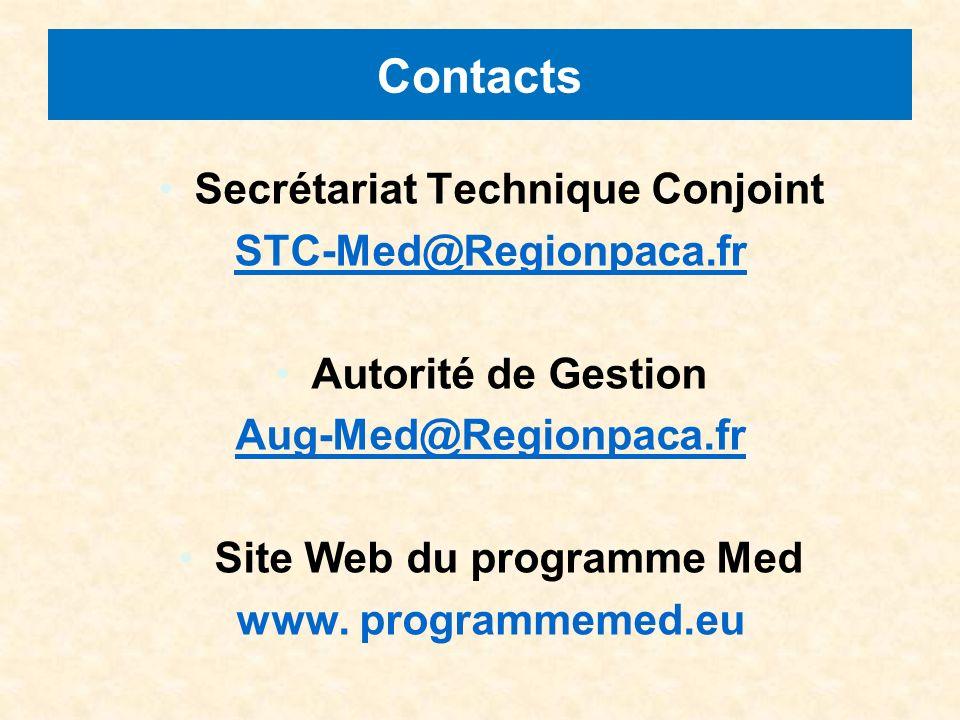 Contacts Secrétariat Technique Conjoint STC-Med@Regionpaca.fr Autorité de Gestion Aug-Med@Regionpaca.fr Site Web du programme Med www.