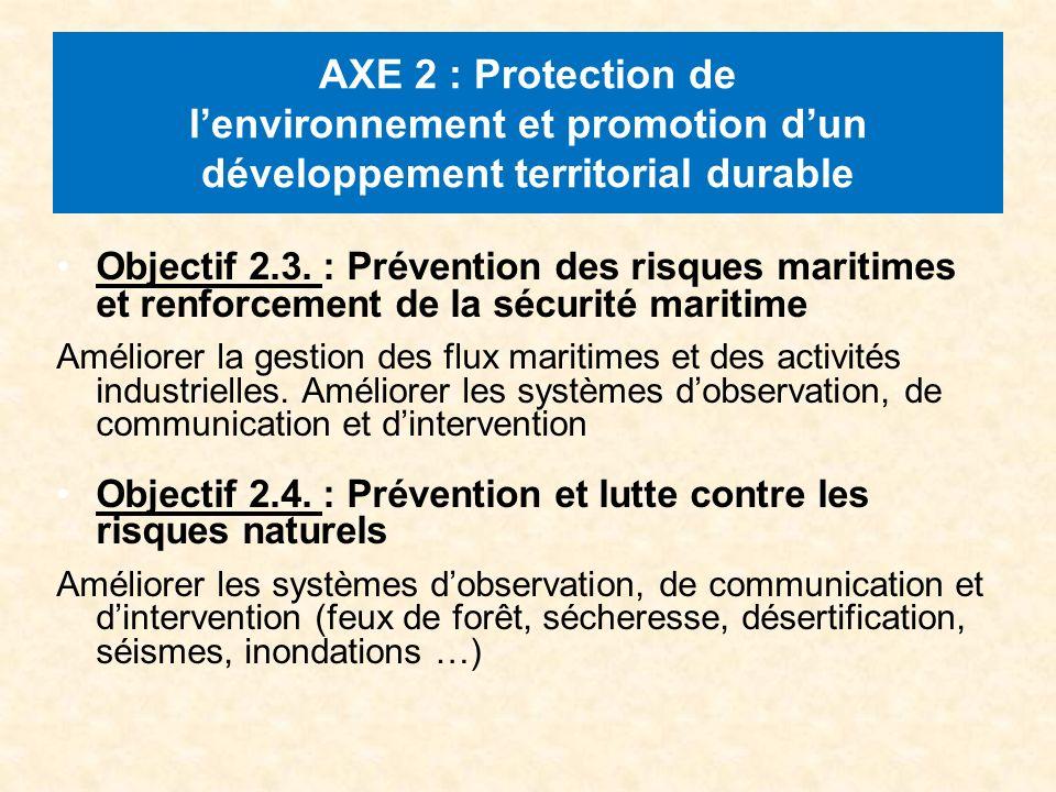 AXE 2 : Protection de lenvironnement et promotion dun développement territorial durable Objectif 2.3.