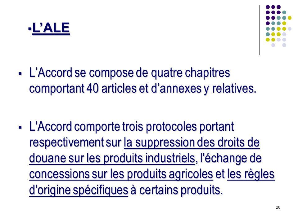 28 LAccord se compose de quatre chapitres comportant 40 articles et dannexes y relatives. LAccord se compose de quatre chapitres comportant 40 article