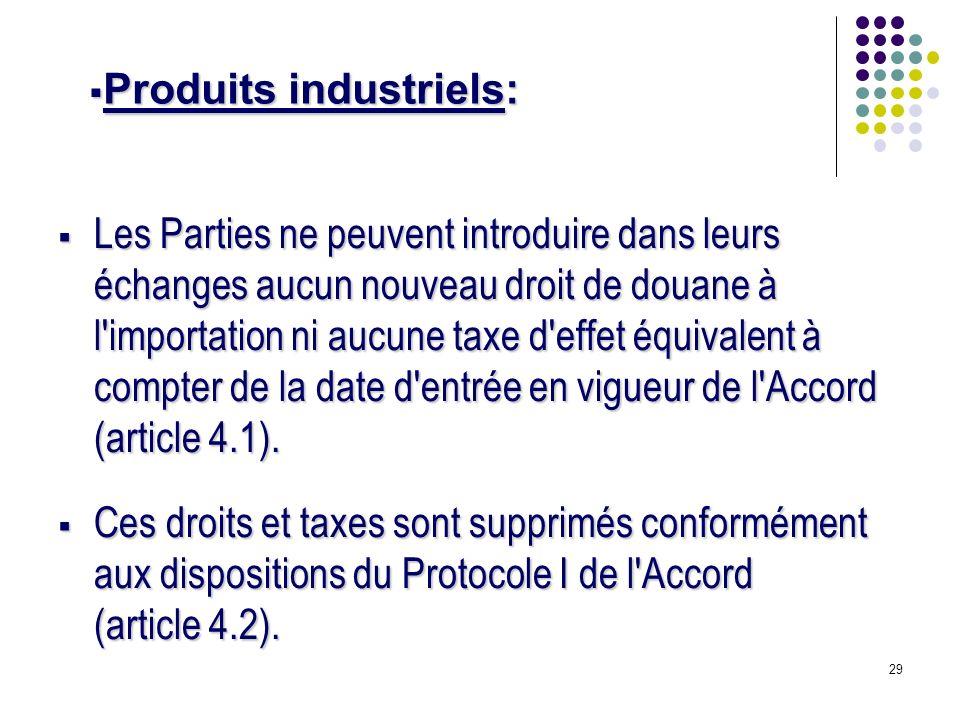 29 Les Parties ne peuvent introduire dans leurs échanges aucun nouveau droit de douane à l importation ni aucune taxe d effet équivalent à compter de la date d entrée en vigueur de l Accord (article 4.1).