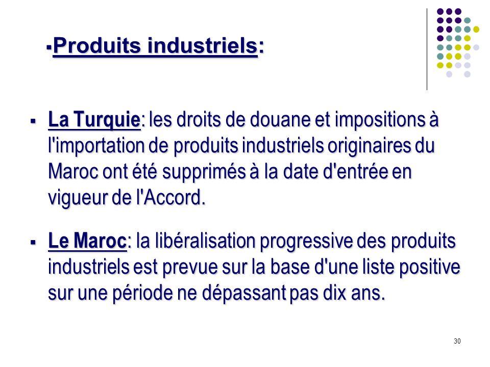 30 La Turquie : les droits de douane et impositions à l importation de produits industriels originaires du Maroc ont été supprimés à la date d entrée en vigueur de l Accord.