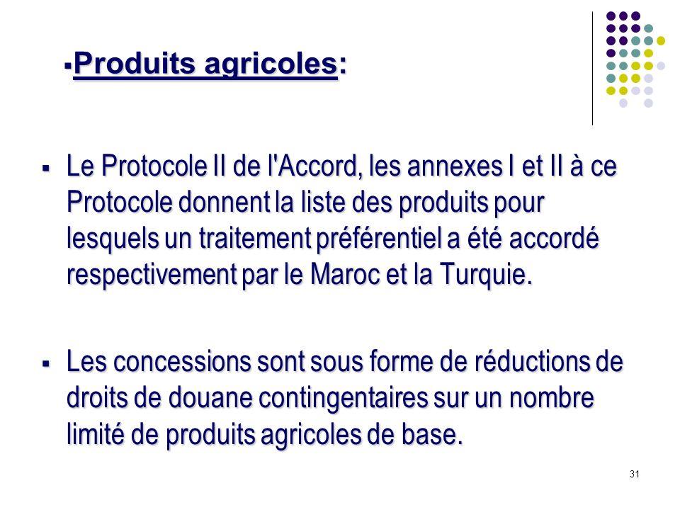 31 Le Protocole II de l Accord, les annexes I et II à ce Protocole donnent la liste des produits pour lesquels un traitement préférentiel a été accordé respectivement par le Maroc et la Turquie.