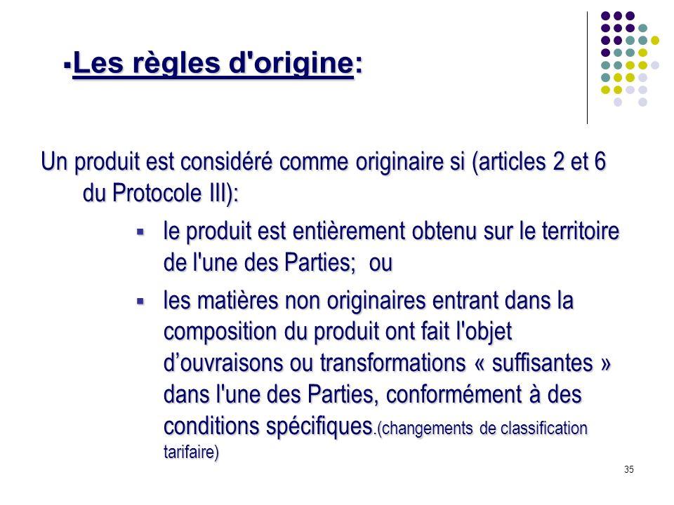 35 Un produit est considéré comme originaire si (articles 2 et 6 du Protocole III): le produit est entièrement obtenu sur le territoire de l'une des P