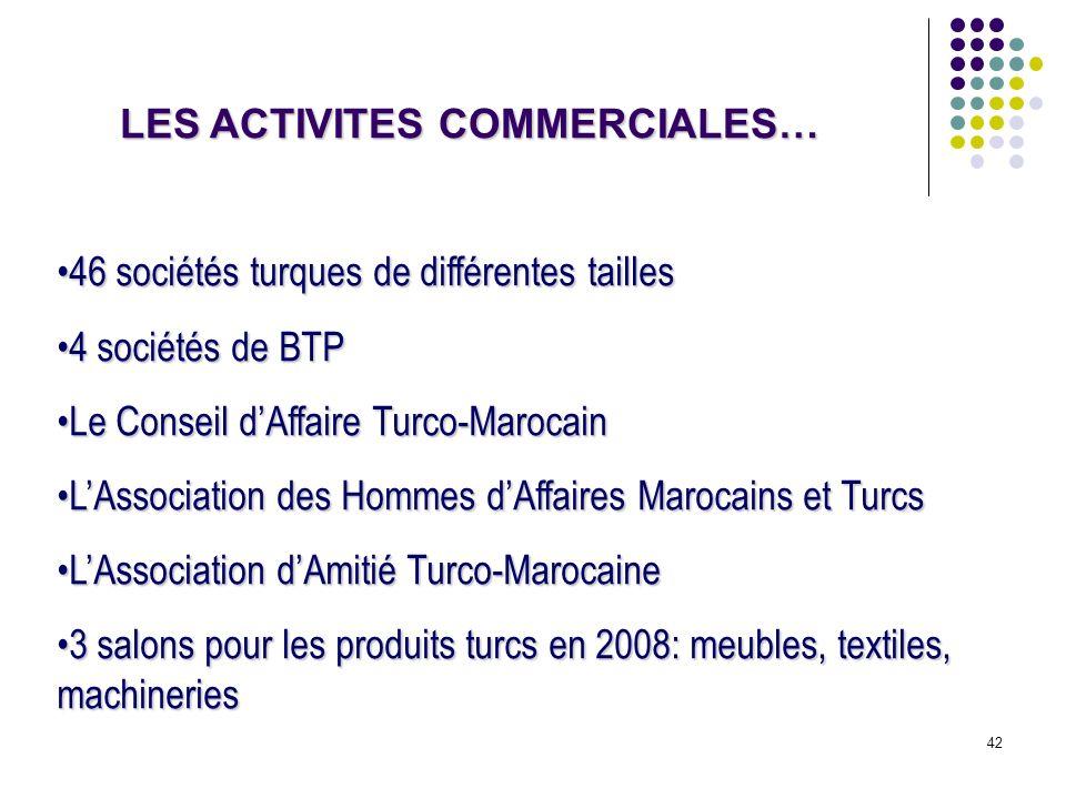 42 LES ACTIVITES COMMERCIALES… 46 sociétés turques de différentes tailles46 sociétés turques de différentes tailles 4 sociétés de BTP4 sociétés de BTP