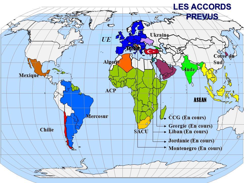 50 UE Ukraine Chilie Mercosur ASEAN Coree du Sud (En cours) Georgie (En cours) CCG (En cours) Mexique SACU ACP Serbie Liban (En cours) Liban (En cours