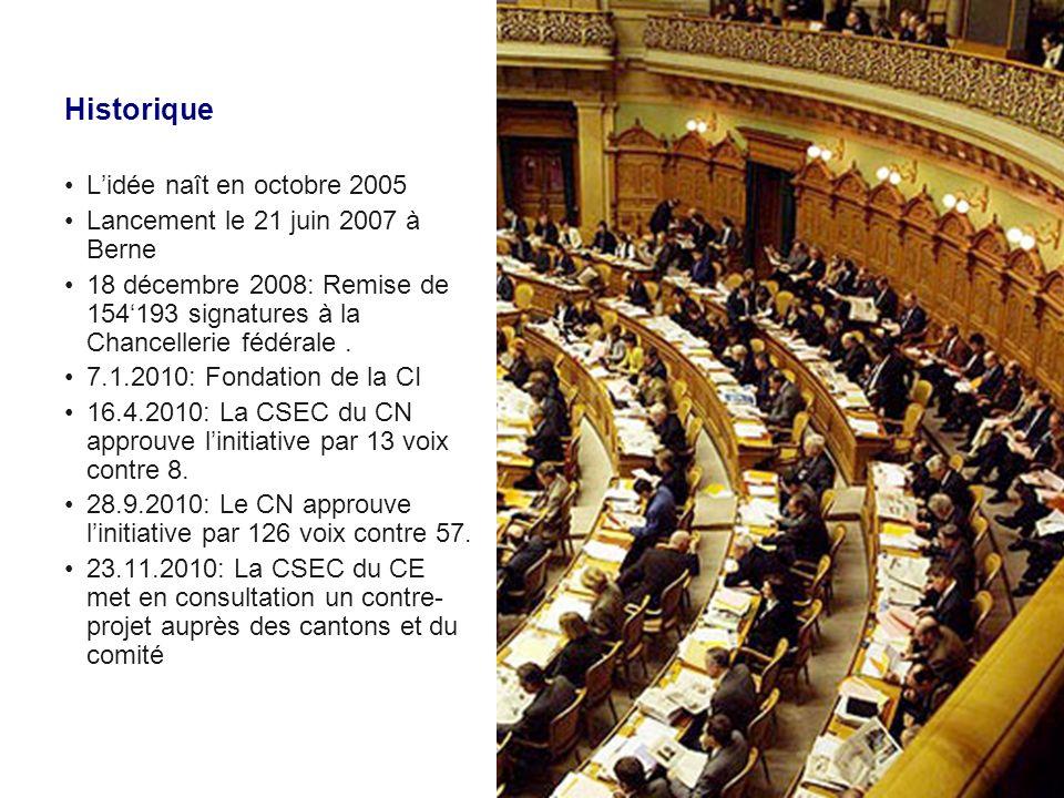 Historique 21.2.2011: La CSEC-CE recommande au CE par 8 voix contre 0 dapprouver le contre- projet et par 7 voix contre 2 de rejeter linitiative.