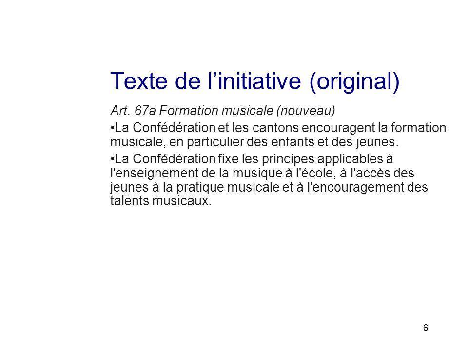 unterstützen verbinden vorausgehen Arrêté fédéral sur la promotion de la formation musicale des jeunes Art.