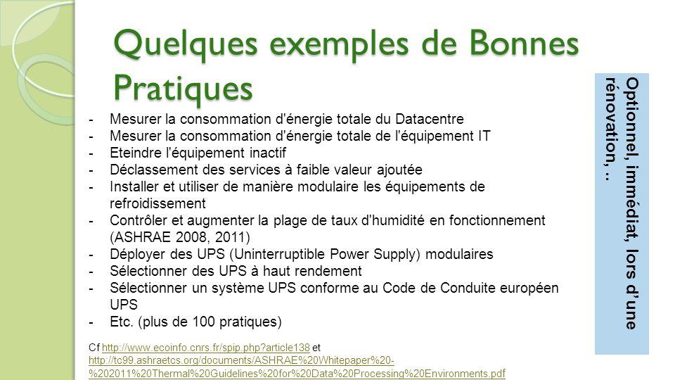 -Mesurer la consommation d énergie totale du Datacentre -Mesurer la consommation d énergie totale de l équipement IT -Eteindre l équipement inactif -Déclassement des services à faible valeur ajoutée -Installer et utiliser de manière modulaire les équipements de refroidissement -Contrôler et augmenter la plage de taux d humidité en fonctionnement (ASHRAE 2008, 2011) -Déployer des UPS (Uninterruptible Power Supply) modulaires -Sélectionner des UPS à haut rendement -Sélectionner un système UPS conforme au Code de Conduite européen UPS -Etc.