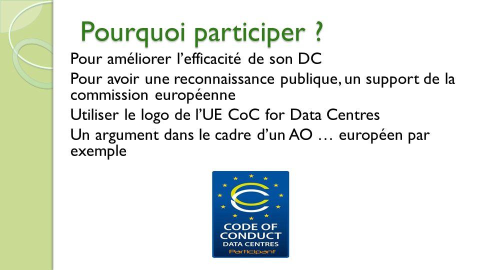 Pour améliorer lefficacité de son DC Pour avoir une reconnaissance publique, un support de la commission européenne Utiliser le logo de lUE CoC for Data Centres Un argument dans le cadre dun AO … européen par exemple Pourquoi participer ?