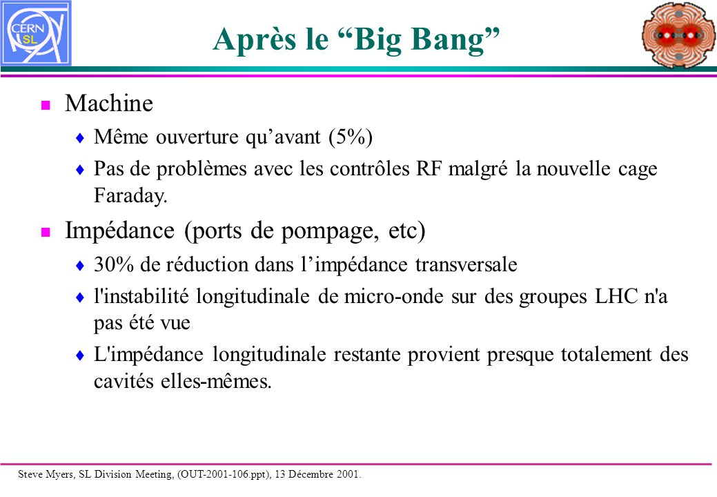 Steve Myers, SL Division Meeting, (OUT-2001-106.ppt), 13 Décembre 2001. The King and I!