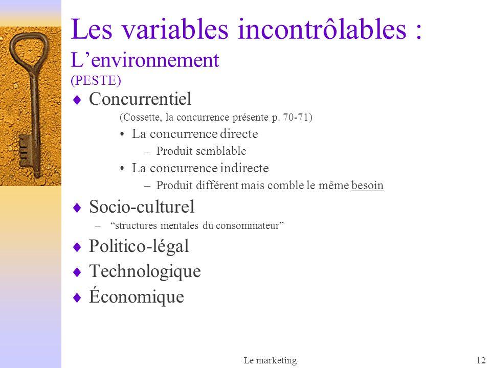 Le marketing12 Les variables incontrôlables : Lenvironnement (PESTE) Concurrentiel (Cossette, la concurrence présente p. 70-71) La concurrence directe