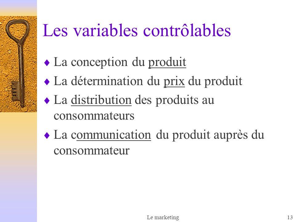 Le marketing13 Les variables contrôlables La conception du produit La détermination du prix du produit La distribution des produits au consommateurs La communication du produit auprès du consommateur