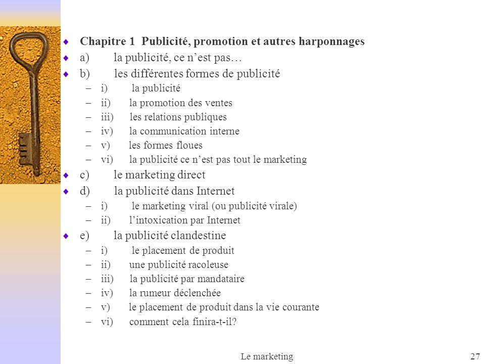 Le marketing27 Chapitre 1 Publicité, promotion et autres harponnages a) la publicité, ce nest pas… b) les différentes formes de publicité –i) la publi