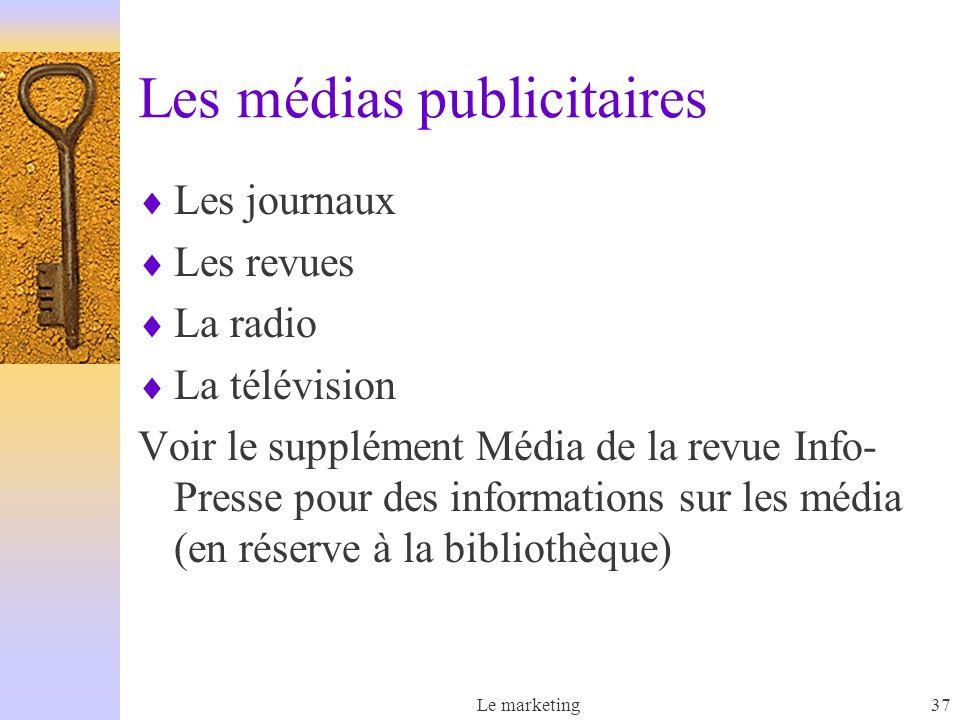 Le marketing37 Les médias publicitaires Les journaux Les revues La radio La télévision Voir le supplément Média de la revue Info- Presse pour des informations sur les média (en réserve à la bibliothèque)