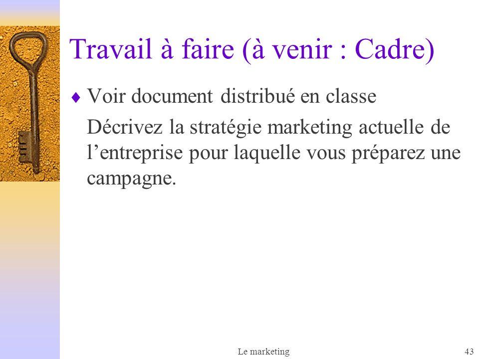 Le marketing43 Travail à faire (à venir : Cadre) Voir document distribué en classe Décrivez la stratégie marketing actuelle de lentreprise pour laquelle vous préparez une campagne.