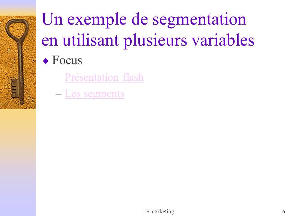 Le marketing6 Un exemple de segmentation en utilisant plusieurs variables Focus –Présentation flashPrésentation flash –Les segmentsLes segments