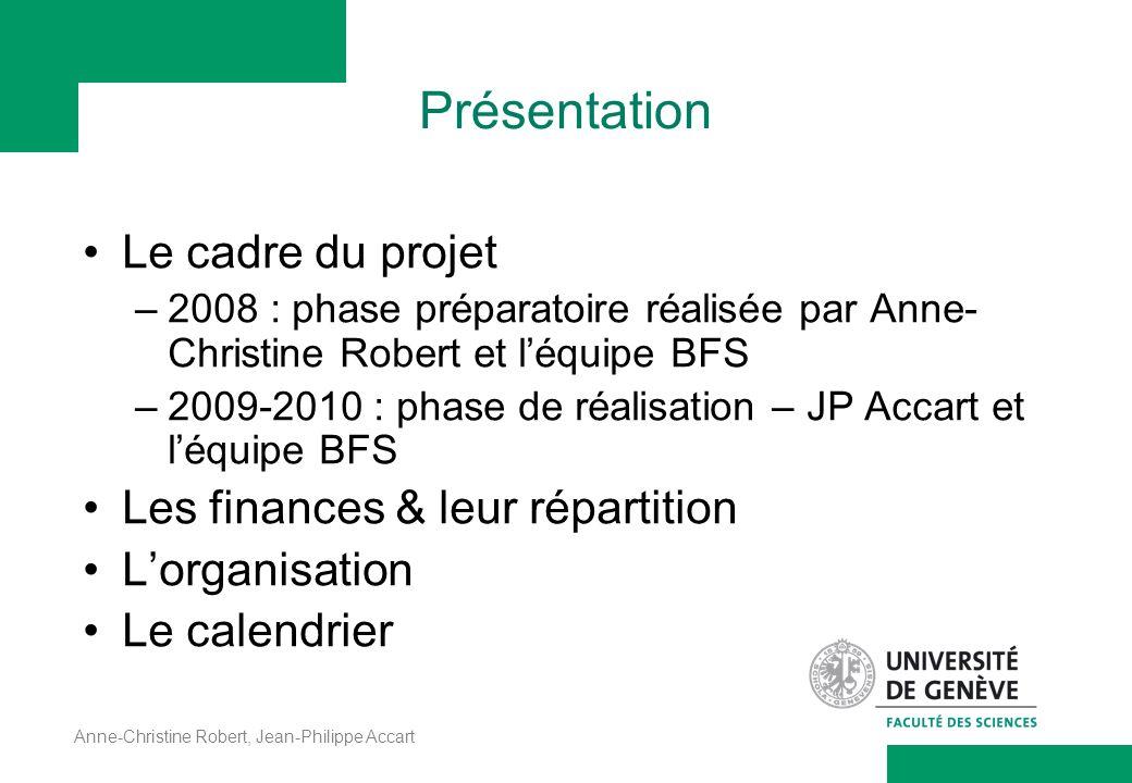 Anne-Christine Robert, Jean-Philippe Accart Présentation Le cadre du projet –2008 : phase préparatoire réalisée par Anne- Christine Robert et léquipe