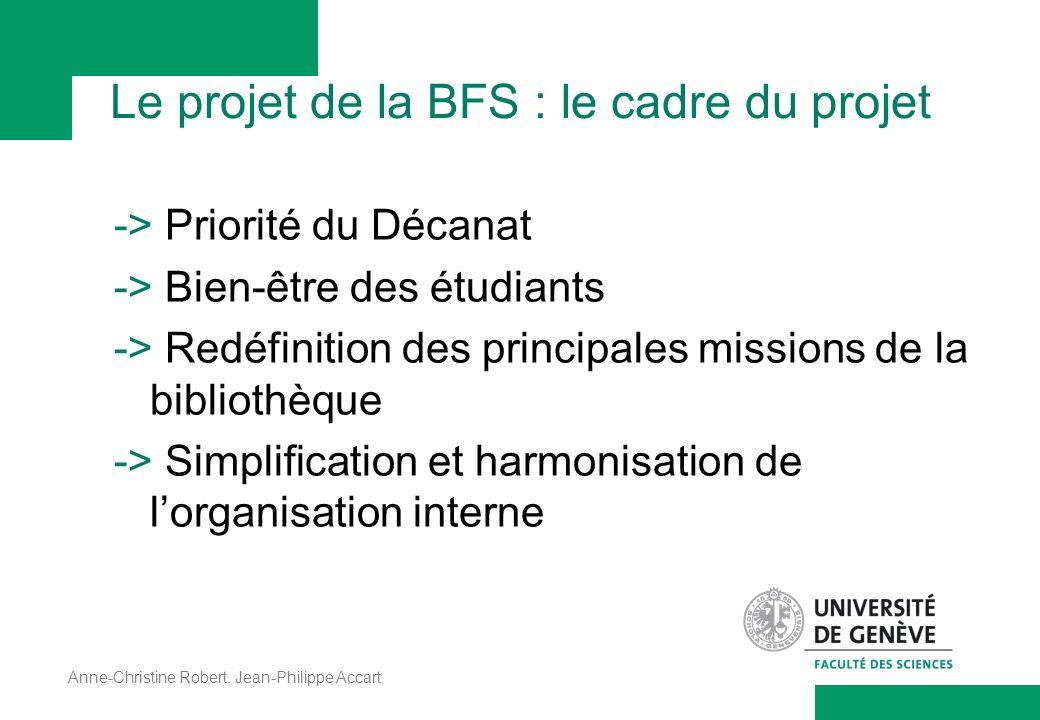 Anne-Christine Robert, Jean-Philippe Accart Le projet de la BFS : le cadre du projet -> Priorité du Décanat -> Bien-être des étudiants -> Redéfinition