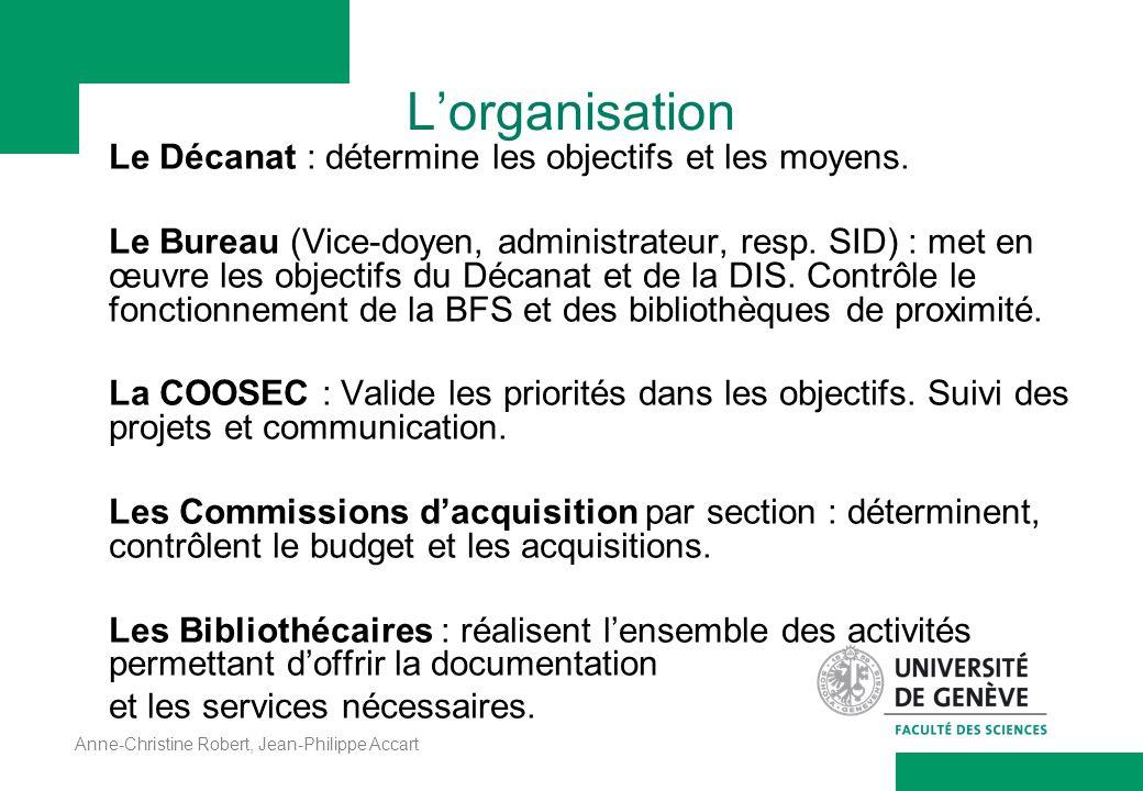 Anne-Christine Robert, Jean-Philippe Accart Lorganisation Le Décanat : détermine les objectifs et les moyens. Le Bureau (Vice-doyen, administrateur, r