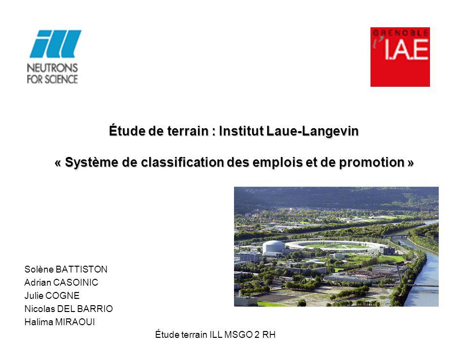 Étude de terrain : Institut Laue-Langevin « Système de classification des emplois et de promotion » Solène BATTISTON Adrian CASOINIC Julie COGNE Nicol