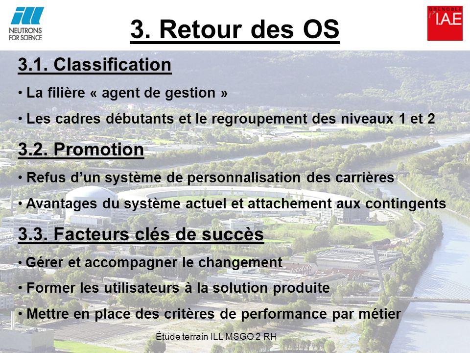 3. Retour des OS 3.1. Classification La filière « agent de gestion » Les cadres débutants et le regroupement des niveaux 1 et 2 3.2. Promotion Refus d