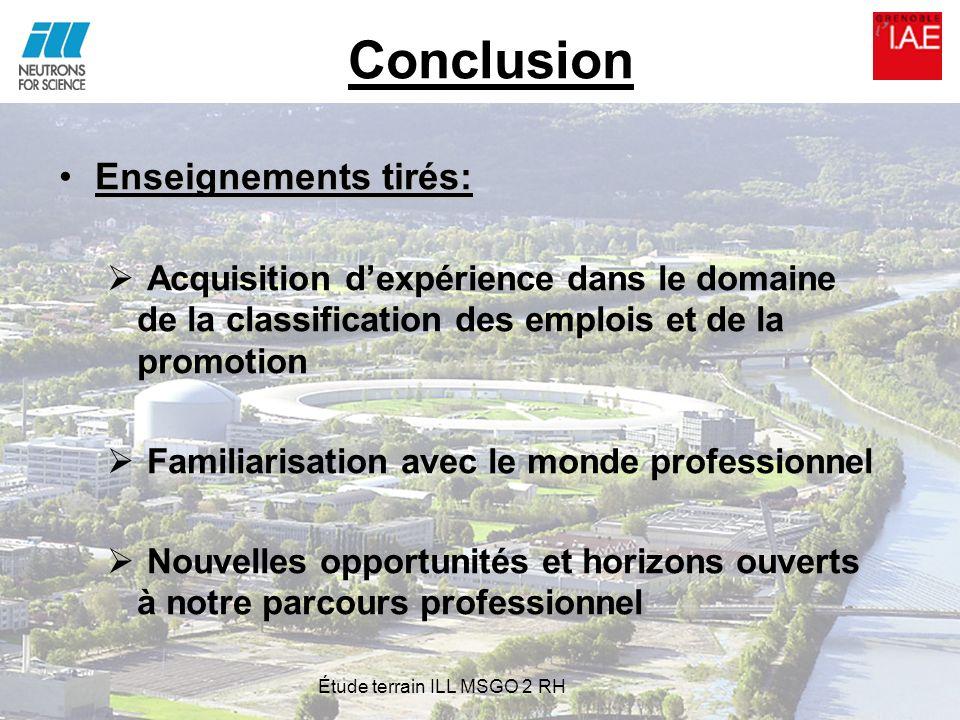 Conclusion Enseignements tirés:Enseignements tirés: Acquisition dexpérience dans le domaine de la classification des emplois et de la promotion Famili