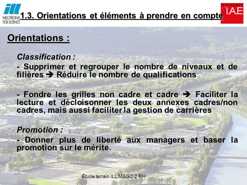 1.3. Orientations et éléments à prendre en compte Orientations : Classification : - Supprimer et regrouper le nombre de niveaux et de filières Réduire