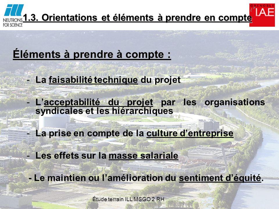1.3. Orientations et éléments à prendre en compte Éléments à prendre à compte : -La faisabilité technique du projet -Lacceptabilité du projet par les