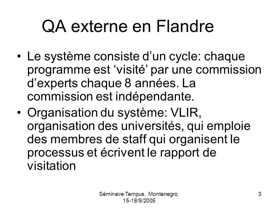 Séminaire Tempus, Montenegro, 15-18/9/2005 3 QA externe en Flandre Le système consiste dun cycle: chaque programme est visité par une commission dexperts chaque 8 années.