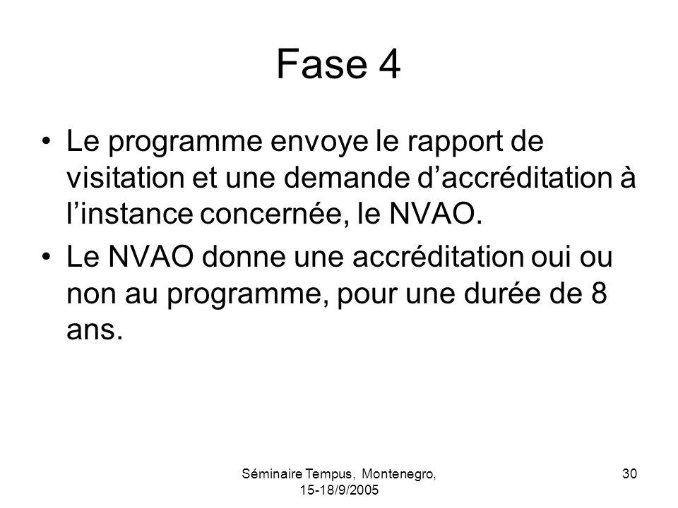 Séminaire Tempus, Montenegro, 15-18/9/2005 30 Fase 4 Le programme envoye le rapport de visitation et une demande daccréditation à linstance concernée, le NVAO.