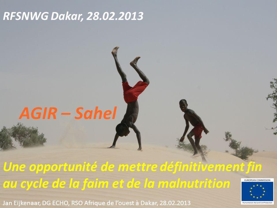 RFSNWG Dakar, 28.02.2013 AGIR – Sahel Une opportunité de mettre définitivement fin au cycle de la faim et de la malnutrition Jan Eijkenaar, DG ECHO, RSO Afrique de louest à Dakar, 28.02.2013