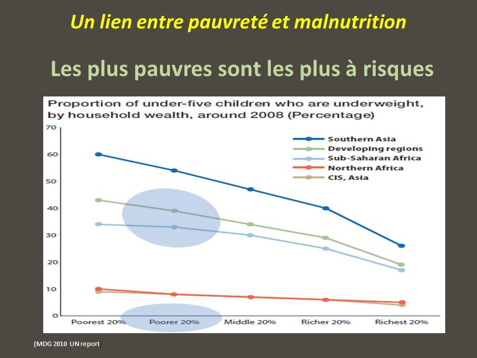 (MDG 2010 UN report) Un lien entre pauvreté et malnutrition Les plus pauvres sont les plus à risques
